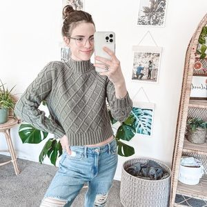 American Eagle Mock Neck Cable Knit Sweater